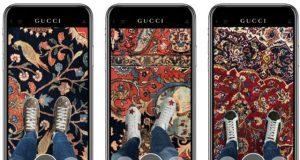 Virtuelle Anprobe von Sneakern in der Gucci App.